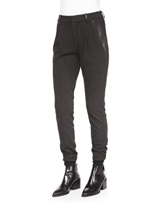 Leather-Trim Relaxed Trousers, Charcoal