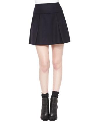 Pleated Flared Wool Skirt, Coastal