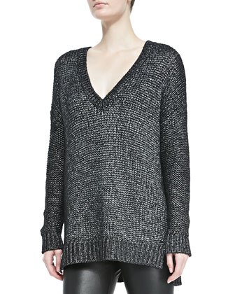 Metallic V-Neck Knit Sweater, Black
