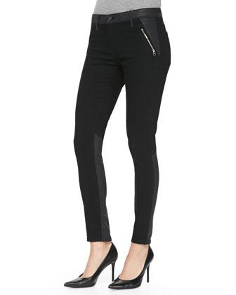 Willow Smolder Leather-Trim Denim Jeans