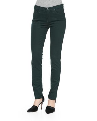 Prima Sateen Mid-Rise Jeans, Rainforest Green