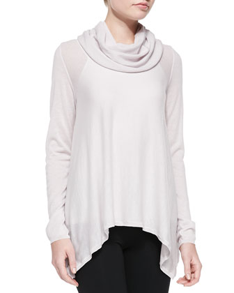 Draped Cowl-Neck Knit Top