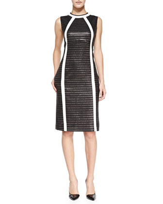 Arch Line-Detail Metallic Sheath Dress