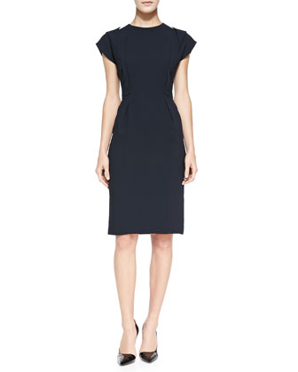 Fold-Detail Crepe Sheath Dress