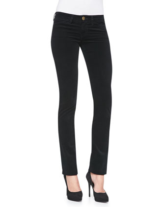 The Mid-Rise Slim Straight Jeans, Caviar