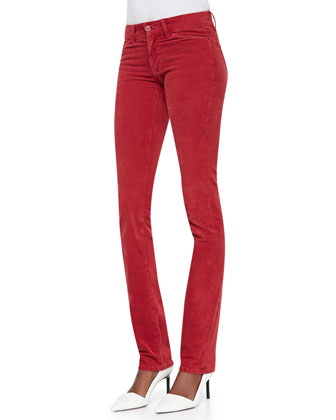 The Mid-Rise Slim Straight Jeans, Red