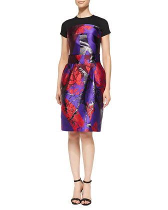 Printed Dress with Jersey Yoke, Red Multi