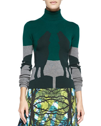 Howling Wolves Turtleneck Knit Sweater