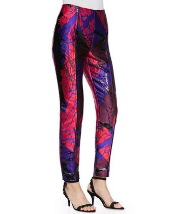 Metallic Jacquard Drainpipe Pants