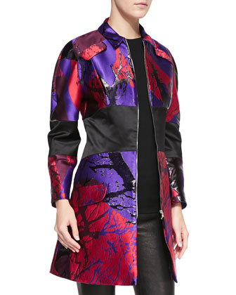 Slash-Print Banded Zip-Front Coat