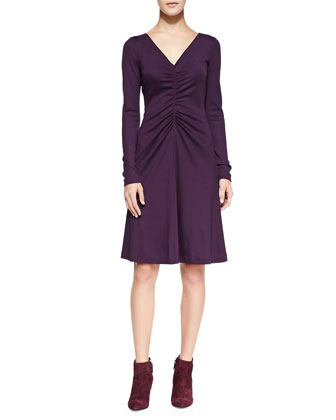 Long-Sleeve Ruched A-line Dress