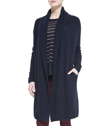 Knit Car Coat Sweater, Navy