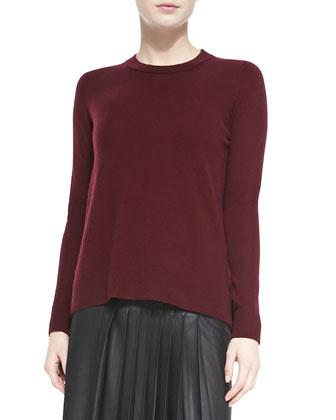 Cashmere Overlay-Crewneck Sweater, Shiraz