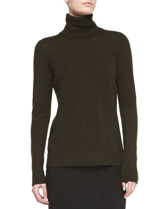 Cashmere-Overlay Turtleneck Sweater, Foliage
