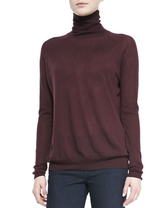 Knit Turtleneck Sweater, Cabernet