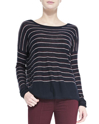 Knit Stripe Crewneck Sweater