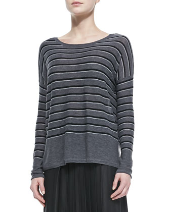 Striped Bateau-Neck Sweater, Thunder Combo