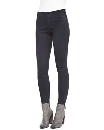 Suede Zip-Ankle Leggings