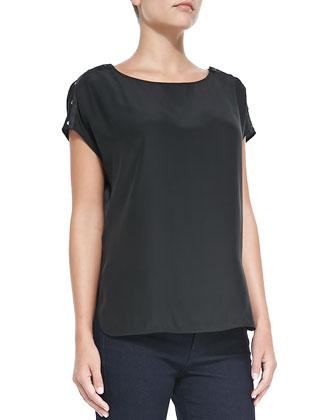 Silk Button-Detail Blouse, Black