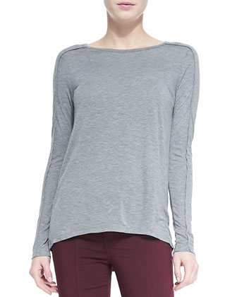 Seamed-Sleeve Jersey Tee, Dark Heather Gray