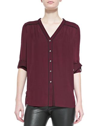 Silk Contrast-Piping Blouse, Shiraz-Black