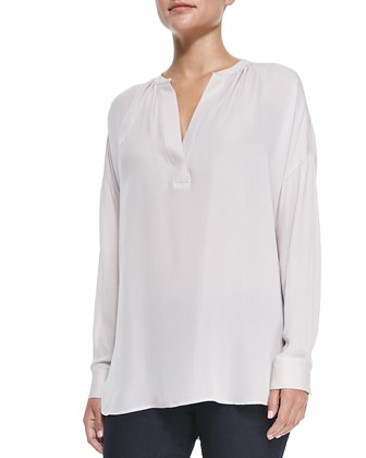 Silk Popover Long-Sleeve Blouse, Cameo