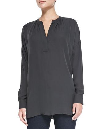 Silk Long-Sleeve Popover Blouse, Pewter