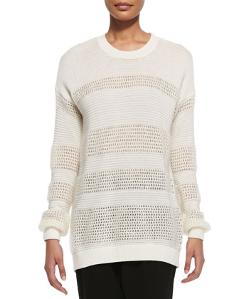 Mixed-Knit Pattern-Stripe Sweater