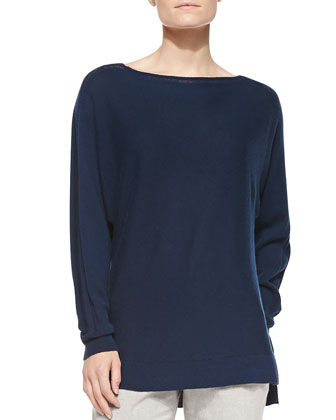 Cashmere Ladder-Stitch Sweater