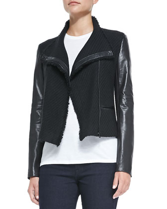 Leather-Sleeve Boucle Scuba Jacket