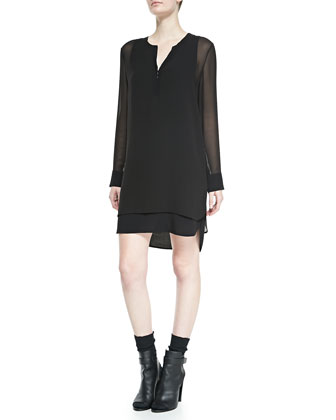 Long-Sleeve Double-Layer Shirttail Dress, Black