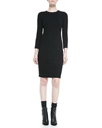 3/4-Sleeve Boucle Sheath Dress, Black