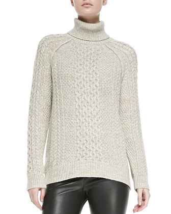 Cable Knit Turtleneck Sweater, Oatmeal