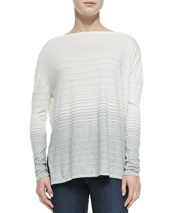Striped Jersey Boat-Neck Tee, Off White-Grey