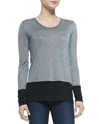 Colorblock Long-Sleeve Tee, Heather Gray/Black