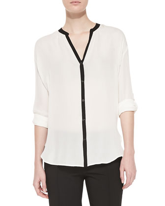 Contrast-Trim Silk Blouse, Off White/Black
