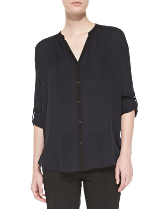 Contrast-Trim Silk Blouse, Coastal/Black