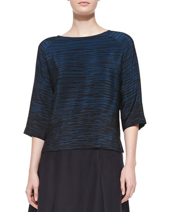 Silk Striped Boat-Neck Blouse, Officer-Black