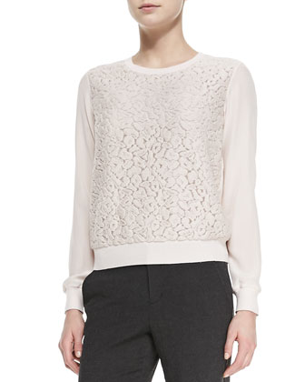 Silk Lace-Overlay Crewneck Top