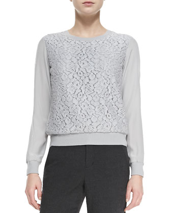 Lace-Overlay Knit-Trim Top