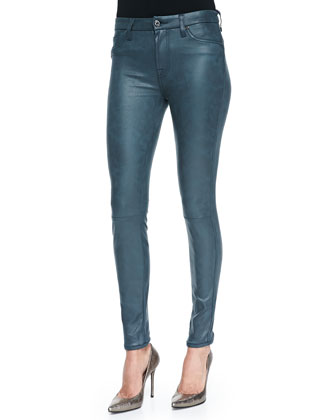 Seamed Leather Skinny Pants