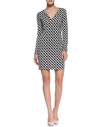 Reina Long-Sleeve Chain-Link-Print Dress