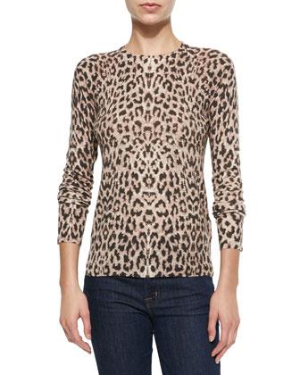 Sloane Leopard-Print Crewneck Sweater