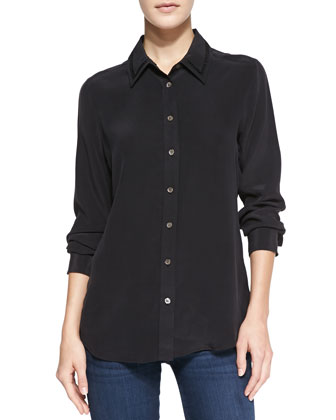 Brett Clean Blouse with Knit Detail
