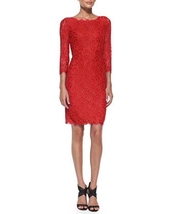 Zarita Boat-Neck Lace Dress