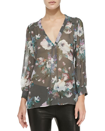 Aceline Long-Sleeve Semi-Sheer Floral Top