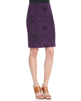 Mosaic Jacquard Pencil Skirt