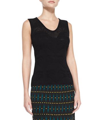 Solid-Color Lily Jacquard Tank Top