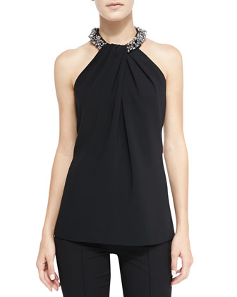 Halter Beaded-Neck Top, Black