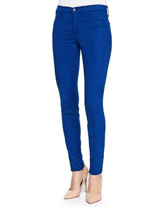 Mid-Rise Sateen Skinny Pants